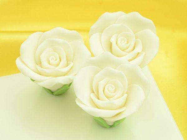 Rosen 35mm weiß Zucker 3 Stück