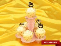 Romantische Hochzeits-Cupcakes Rezeptkarte
