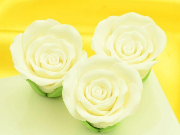 Rosen 50mm weiß Zucker 3 Stück