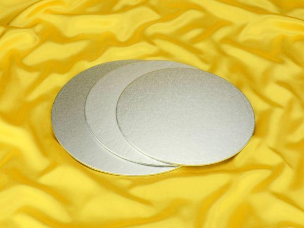 Cakeboard rund 25cm silber 4mm