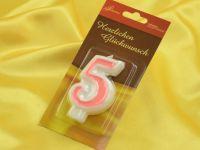Zahlenkerze rosa 5