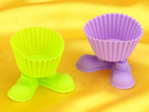 Silikon Muffinkapseln mit Füßen 50mm bunt 2 Stück