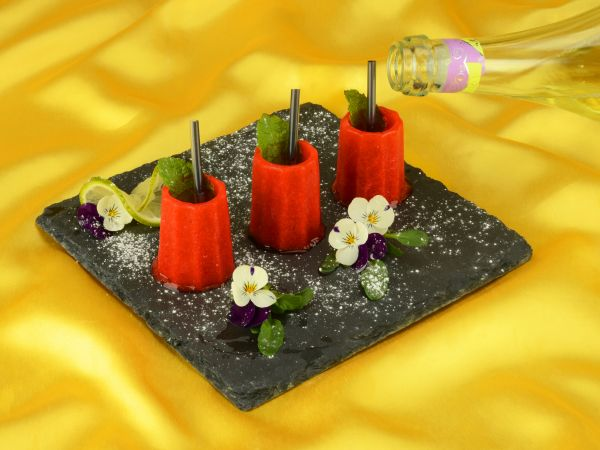 Erdbeer-Sorbet- / Eis-Shooter Rezeptkarte