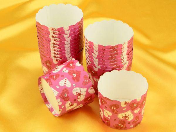 Cupcake Cup groß pinke Herzen 20 Stück