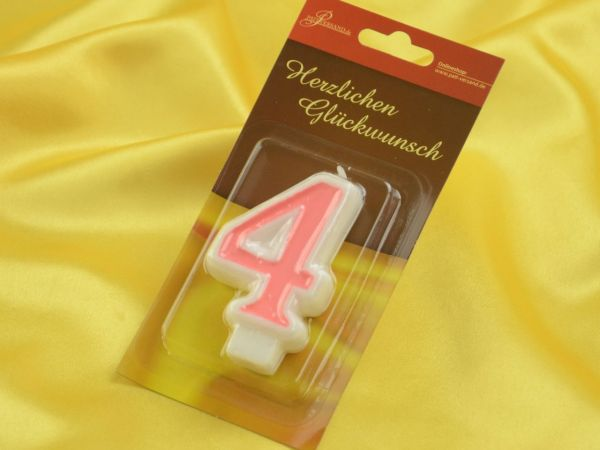 Zahlenkerze rosa 4