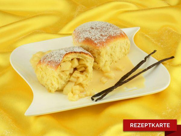 Warme Apfelbuchteln mit Vanillesoße Rezeptkarte