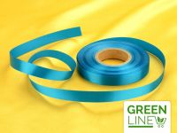 Satinband blau 14mm, 30 Meter GREENLINE