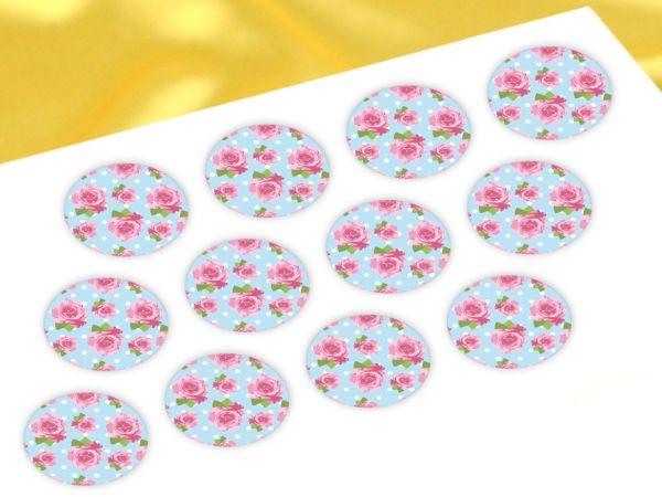 Cupcake Buttons Rosen 12 Stück