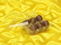 Macaron-Halbschalen 12 Stück braun in 6er Box transparent