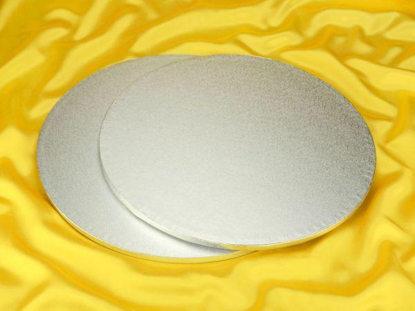 Cakeboard rund 43cm silber 5 Stück