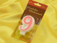 Zahlenkerze rosa 9