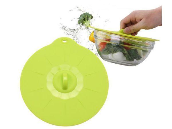 Universaldeckel aus lebensmittelechten Silikon Ø25 cm grün transparent