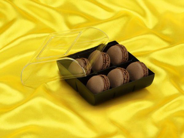 Macaron-Halbschalen 12 Stück braun in 6er Box schwarz