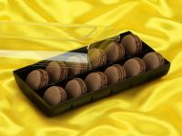 Macaron-Halbschalen 24 Stück braun in 12er Box schwarz