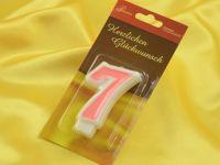 Zahlenkerze rosa 7