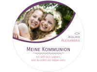 Meine Kommunion-Konfirmation violett, rund 20cm