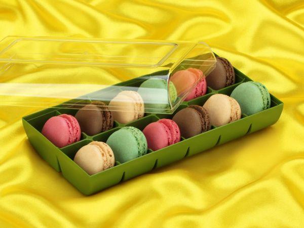 Macaron-Halbschalen 24 Stück bunt in 12er Box grün