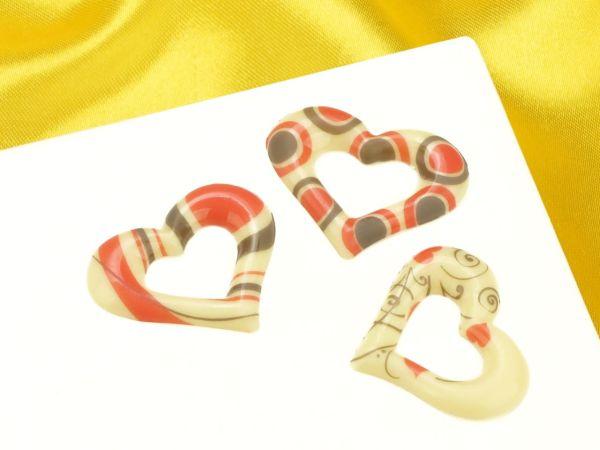 1 Folie Schokoladen- Dekor Herz Weiß