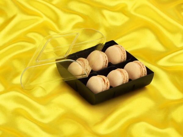 Macaron-Halbschalen 12 Stück gelb in 6er Box schwarz