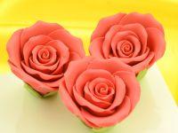 Rosen 50mm rot Zucker 3 Stück