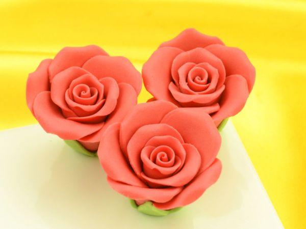 Rosen 35mm rot Zucker 3 Stück