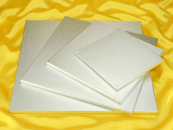 Cakeboard quadrat 35cm silber 5 Stück