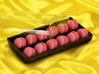 Macaron-Halbschalen 24 Stück rot in 12er Box schwarz