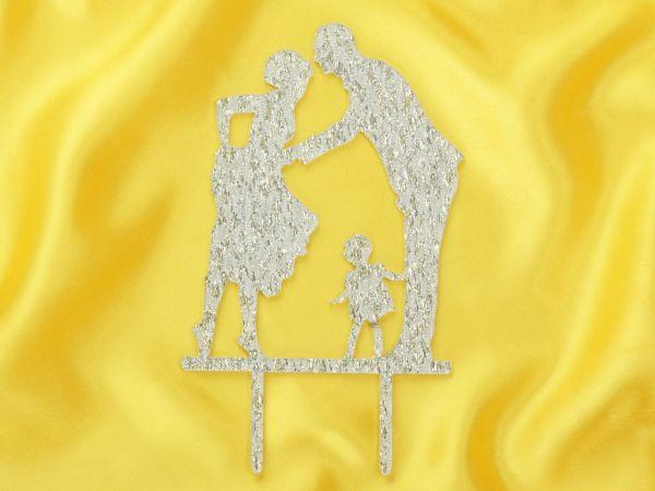 Cake Topper Brautpaar mit Kind silber