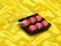 Macaron-Halbschalen 12 Stück rot in 6er Box schwarz