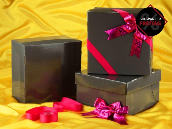 Tortenkarton graphit 31cm 3er Set mit Schleifenset pink