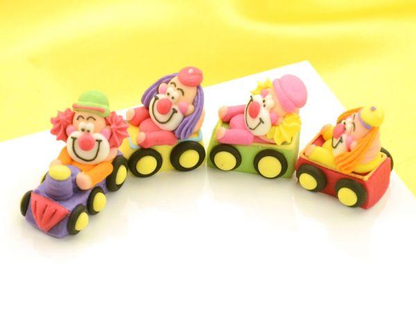 Clowns im Zug Zucker 4er Set