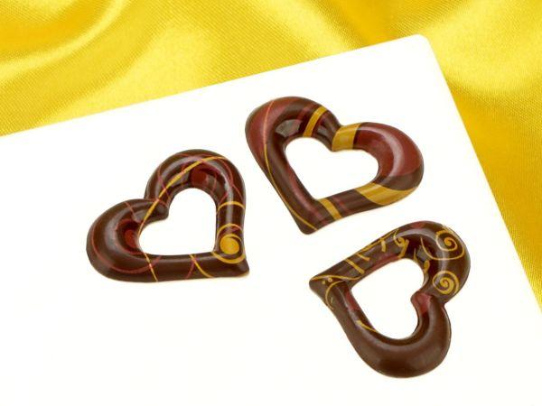 1 Folie Schokoladen- Dekor Herz Zartbitter