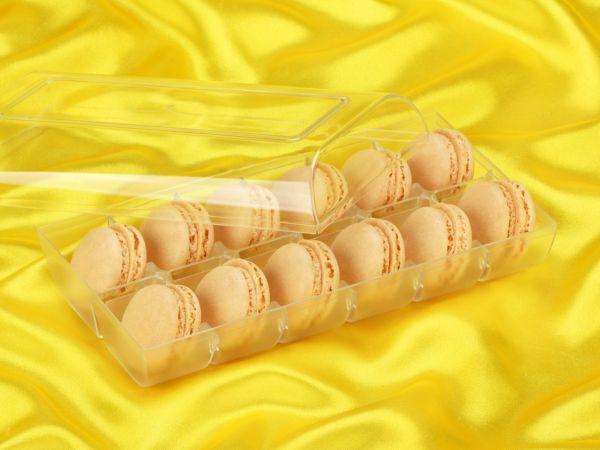 Macaron-Halbschalen 24 Stück gelb in 12er Box transparent