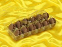 Macaron-Halbschalen 24 Stück braun in 12er Box transparent