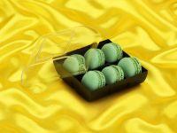 Macaron-Halbschalen 12 Stück grün in 6er Box schwarz