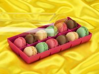 Macaron-Halbschalen 24 Stück bunt in 12er Box fuchsia