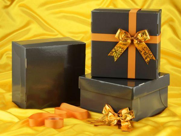 Tortenkarton graphit 31cm 3er Set mit Schleifenset gold