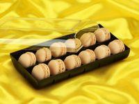 Macaron-Halbschalen 24 Stück gelb in 12er Box schwarz