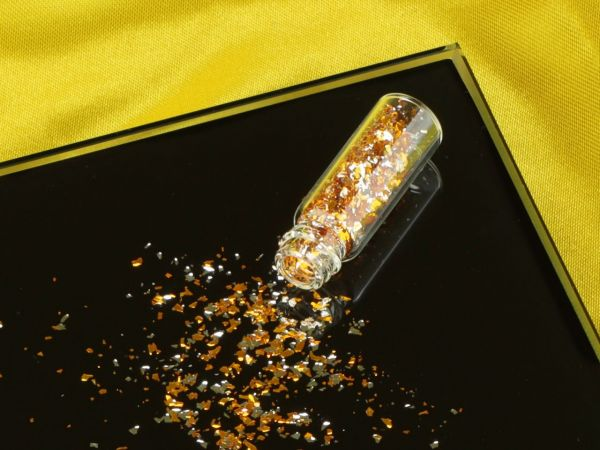 Mini-Flacon Flitter grob silber-gelb